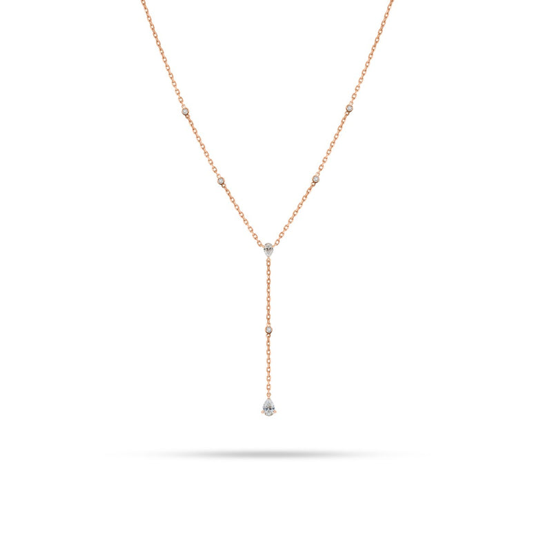 V-Shaped Dangling Round Pear Diamond Necklace