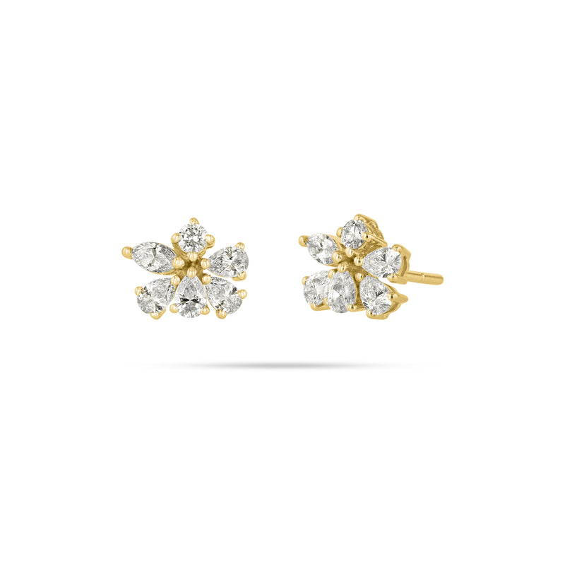 Cluster Stud Diamond Earrings