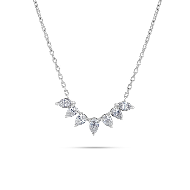 Arc shaped white gold pear diamond necklace
