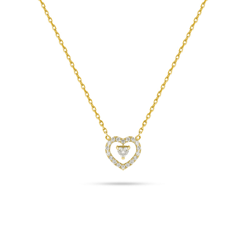Floating Heart Diamond Pendant