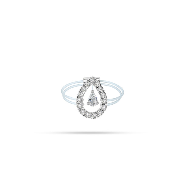 Floating Pear Diamond Ring