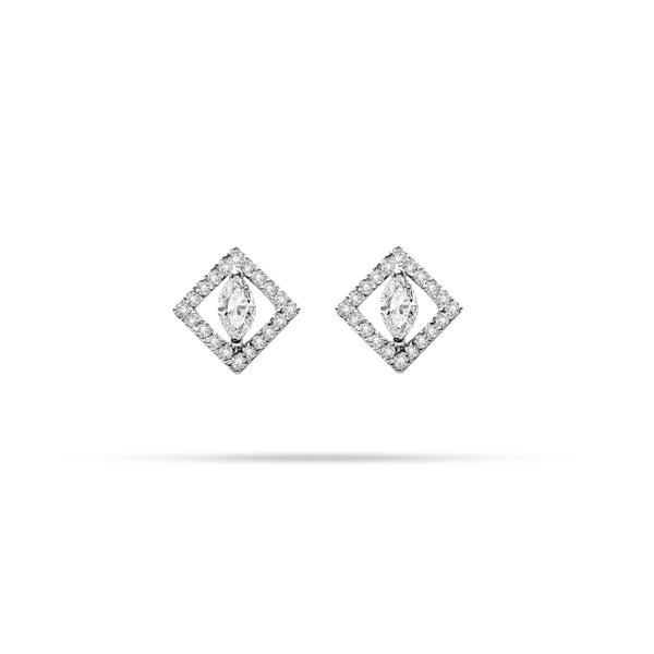 Marquise and Round Diamond Stud Earrings