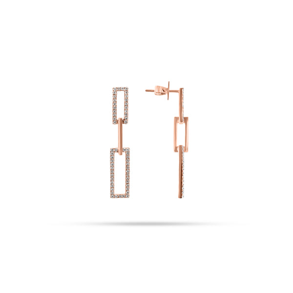 Double Link Drop Diamond Earrings