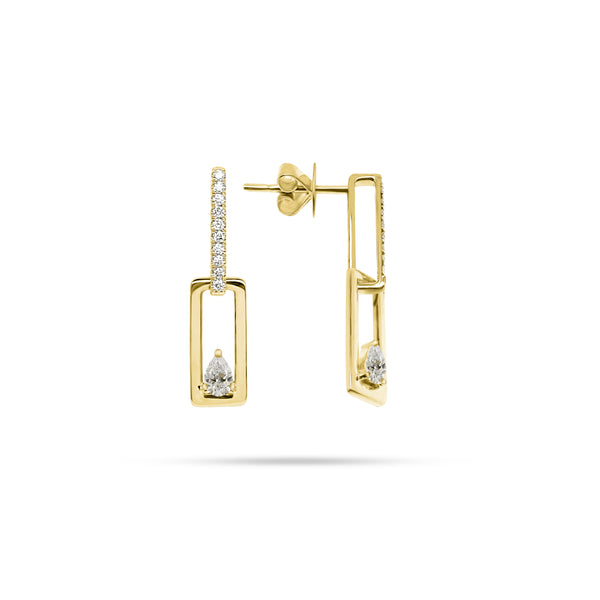Floating Pear Diamond Link Earrings