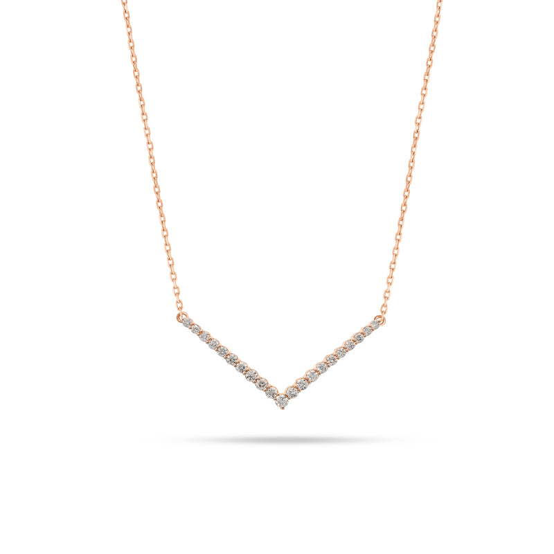 V Shaped Round Diamond Pendant