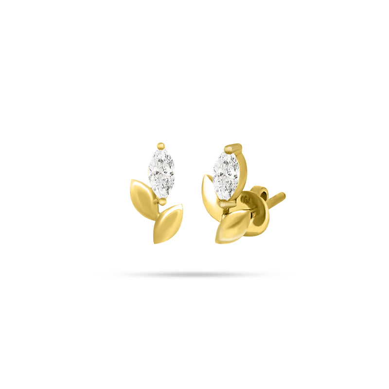 LEAF MARQUISE DIAMOND EARRINGS