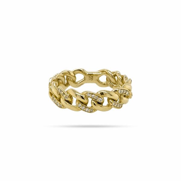 ROUND DIAMOND CUBAN LINK ETERNITY RING