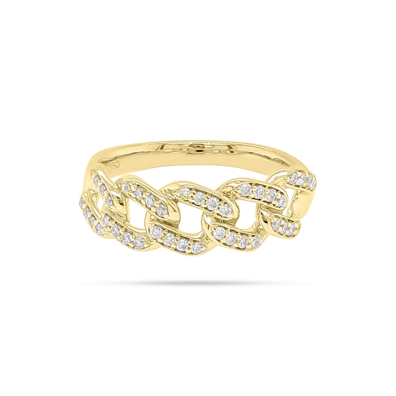 Round Diamond Cuban Link Ring