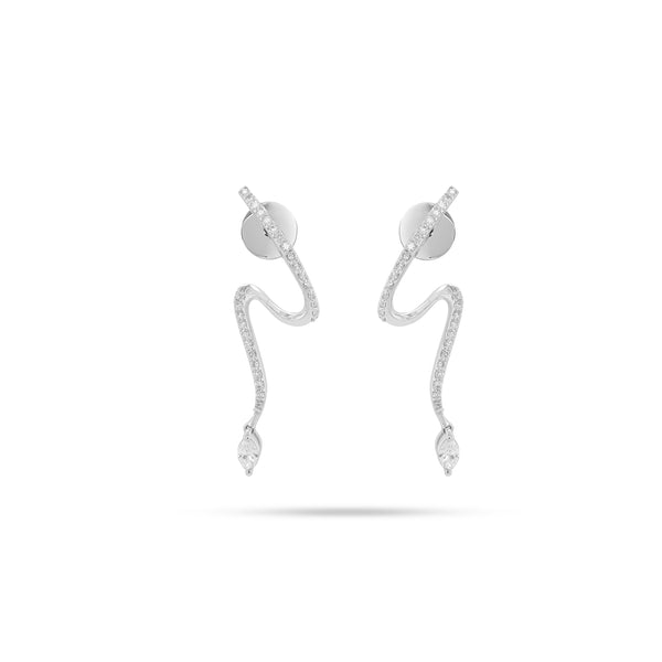 Snake MARQUISE CURVE DIAMOND  EARRINGS