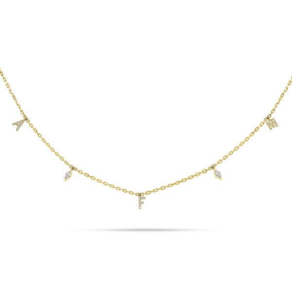 Personalized Three Letter Marquise Diamond Choker