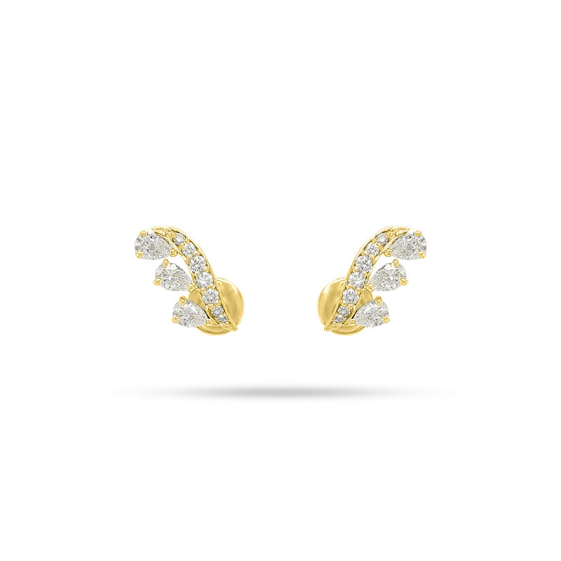 Wing Pear and Round Diamond Earrings