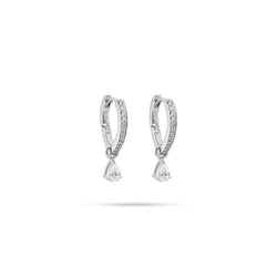 Huggie Pear Diamond Earrings