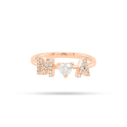 Personalized Two Letter Heart Diamond Ring
