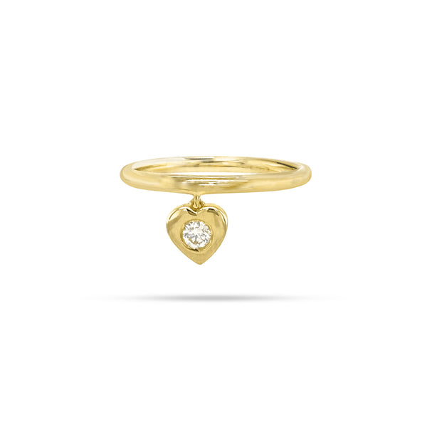 Dangling Heart Shaped Round Diamond Ring