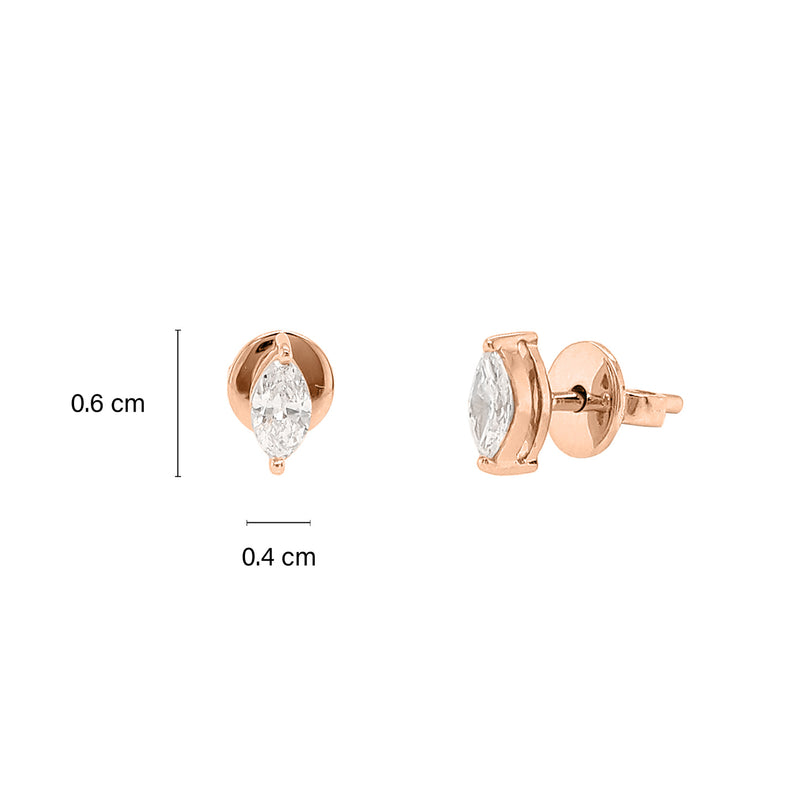 Solitaire Marquise Diamond Stud Earrings