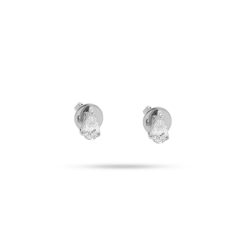 Solitaire Pear Diamond Stud Earrings