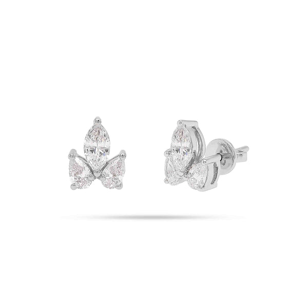 Solitaire Marquise and Pear Trio Stud Earrings
