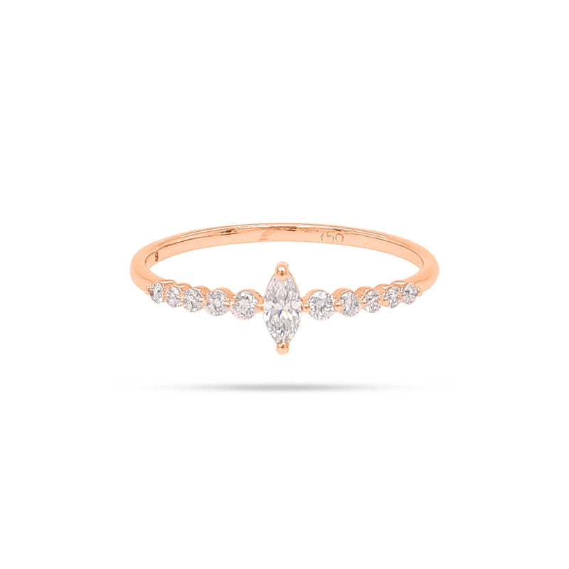 Solitaire Marquise and Round Diamond Ring