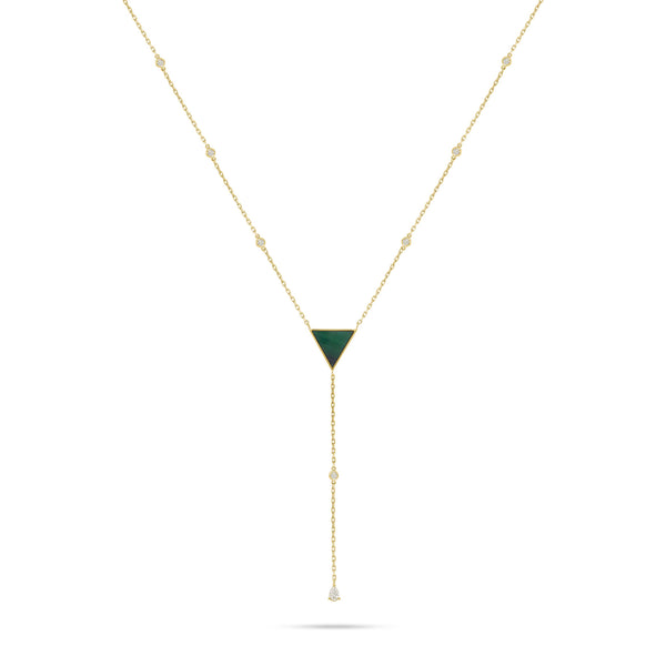 Round Diamond Triangle Shape Malachite Stone Pendant