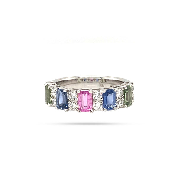 Rainbow Round Diamond And Colored Stone Ring