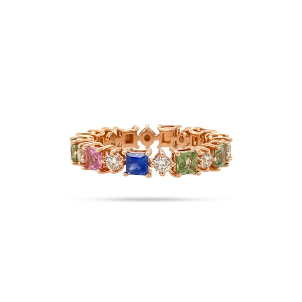 RAINBOW PRINCESS SAPPHIRE DIAMOND RING