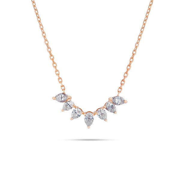 Arc shaped rose gold pear diamond necklace