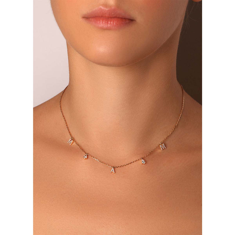 Personalized Three Letter Pear Diamond Choker