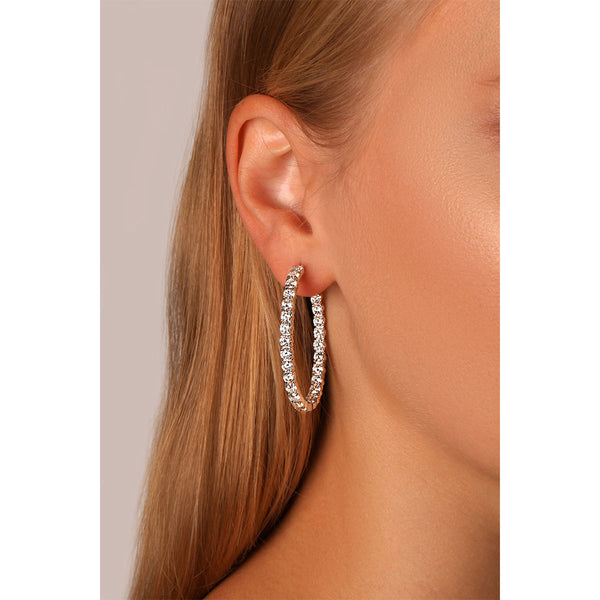 Hoop Round Diamond Earrings