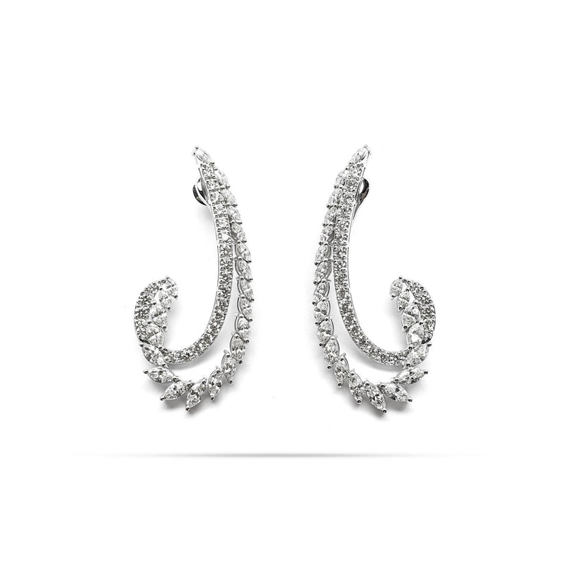 Arc Marquise And Round Diamond Long Earrings