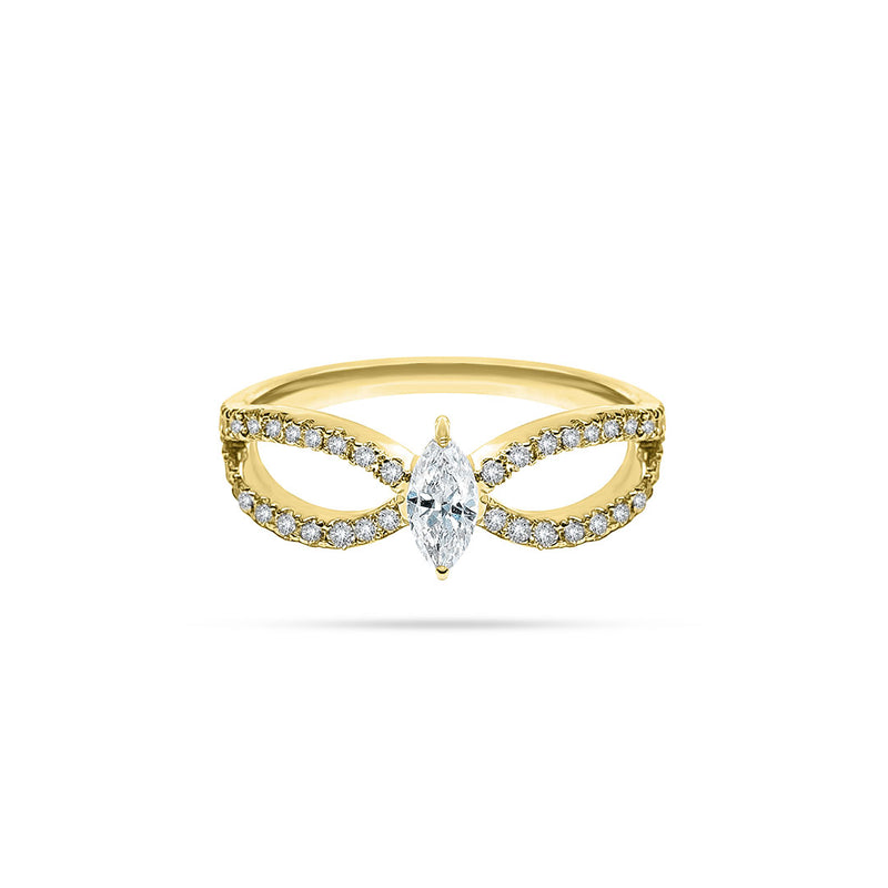 Bow Marquise and Round Diamond Ring