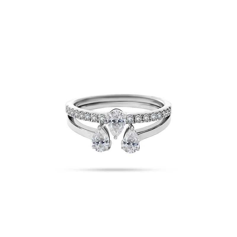Trio Pear Round Diamond Ring