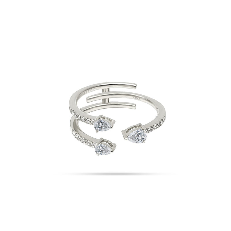 Spiral Pear Round Diamond Ring