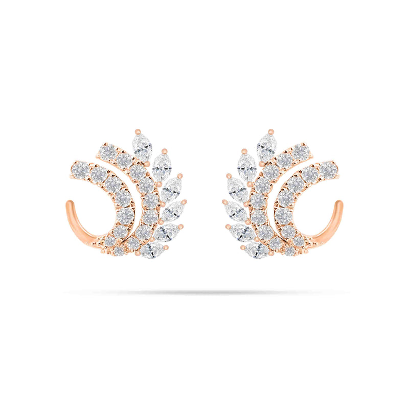 Wing Marquise and Round Diamond Earrings