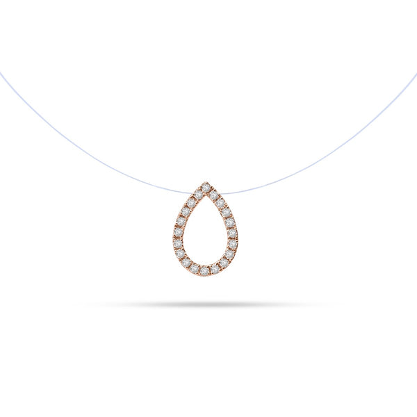 Floating Pear Round Diamond Necklace