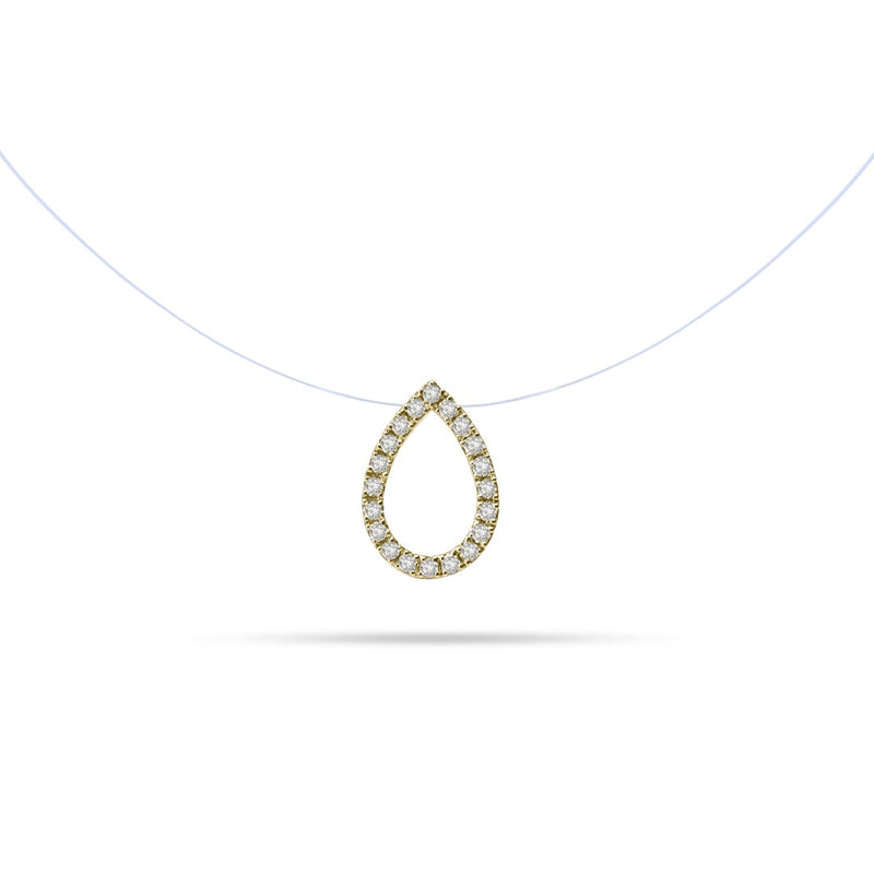 Floating Pear Design Round Diamond Necklace