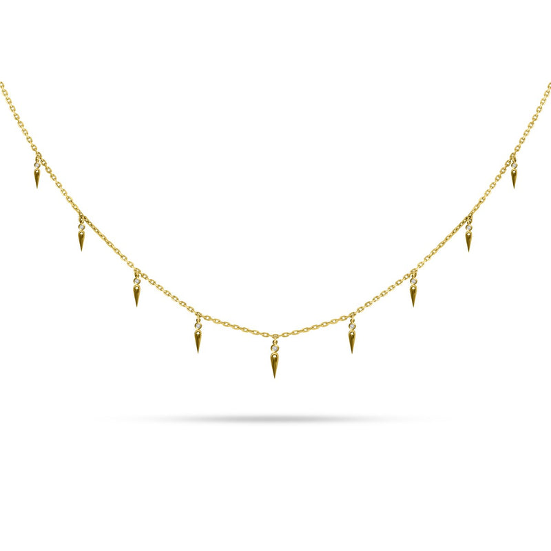 Graduating Spike Round Diamond Choker