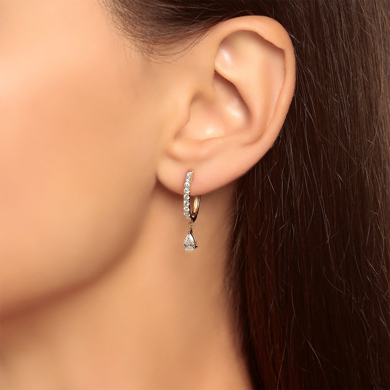 Round and Pear Diamond Huggie Earrings