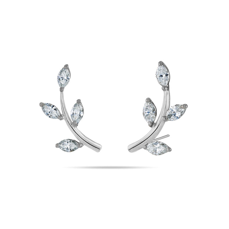 Leaf Climber Marquise Diamond Earrings