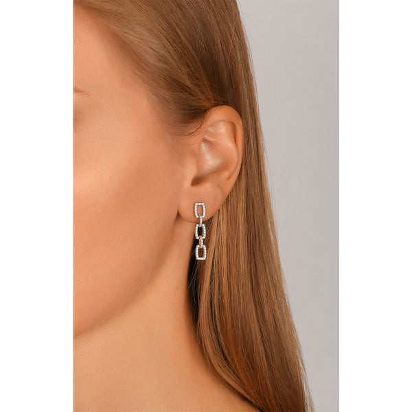 Round Diamond Link Earrings