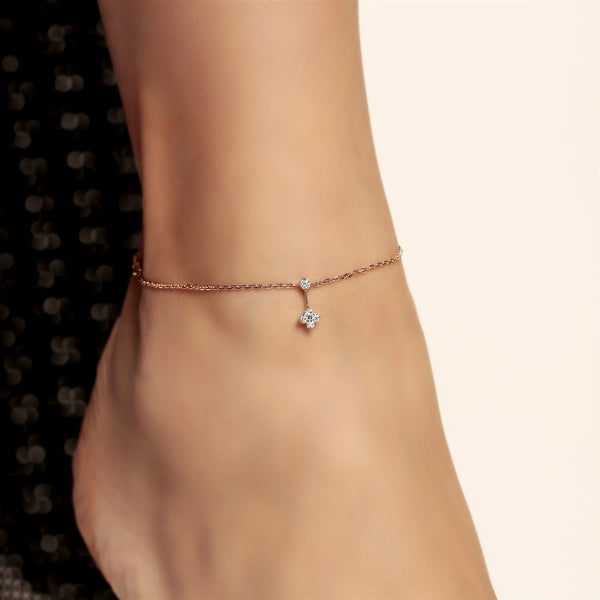 DEAL 3: Dangling Round Diamond Anklet