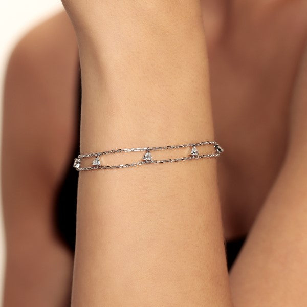 Dangling Heart Diamond Bracelet