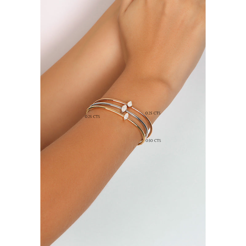 Pear Shape Solitaire Bangle
