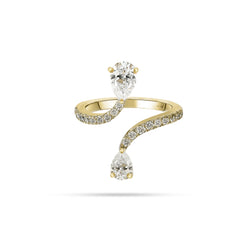 Pear and Round Diamond Open Ring