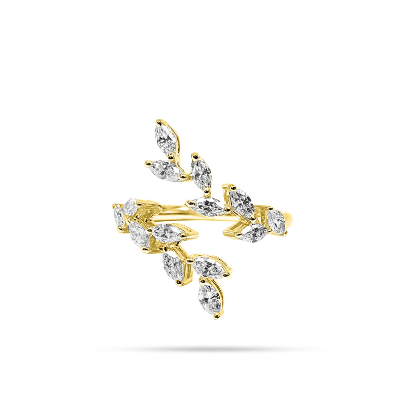 Leaf Stem Marquise Diamond Open Ring