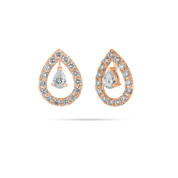 Floating Pear & Round Diamond Earrings