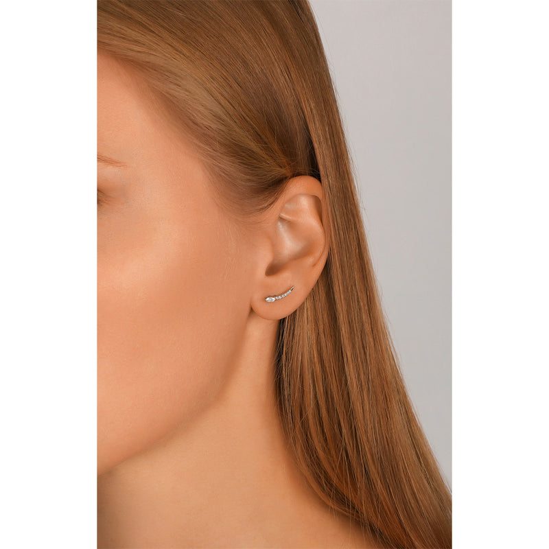 Solitaire Marquise Round Ear Climbers