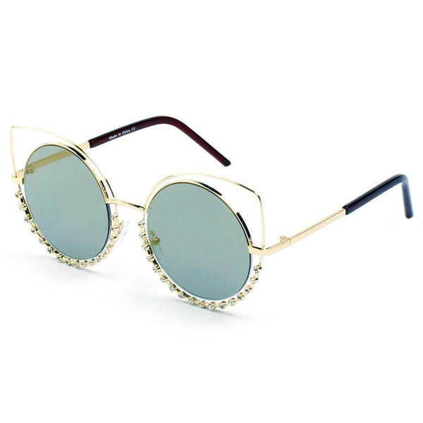 HOLLAND | A21 - Designer Pearl-Studded Cut-Out Cat Eye Princess Sunglasses - AAA Discount Store