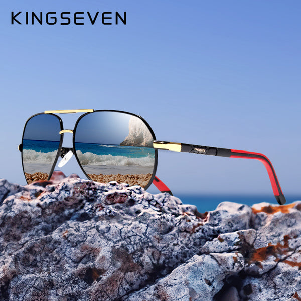 KINGSEVEN Aluminum Magnesium Men's Sunglasses Polarized Men Coating Mirror Glasses oculos Male Eyewear Accessories For Men K725 - AAA Discount Store