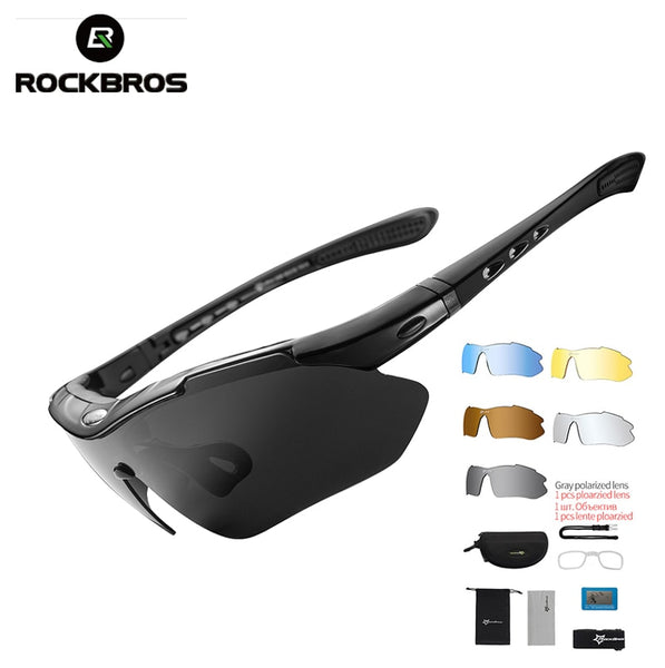 ROCKBROS Polarized Sports Men Sunglasses Road Cycling Glasses Mountain Bike Bicycle Riding Protection Goggles Eyewear 5 Lens - AAA Discount Store