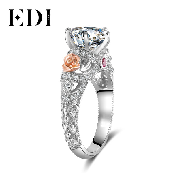 EDI 2ct Natural Topaz Gemstone Crystal 925 Sterling Silver Engagement Ring For Women Flower Bands Fine Jewelry - AAA Discount Store